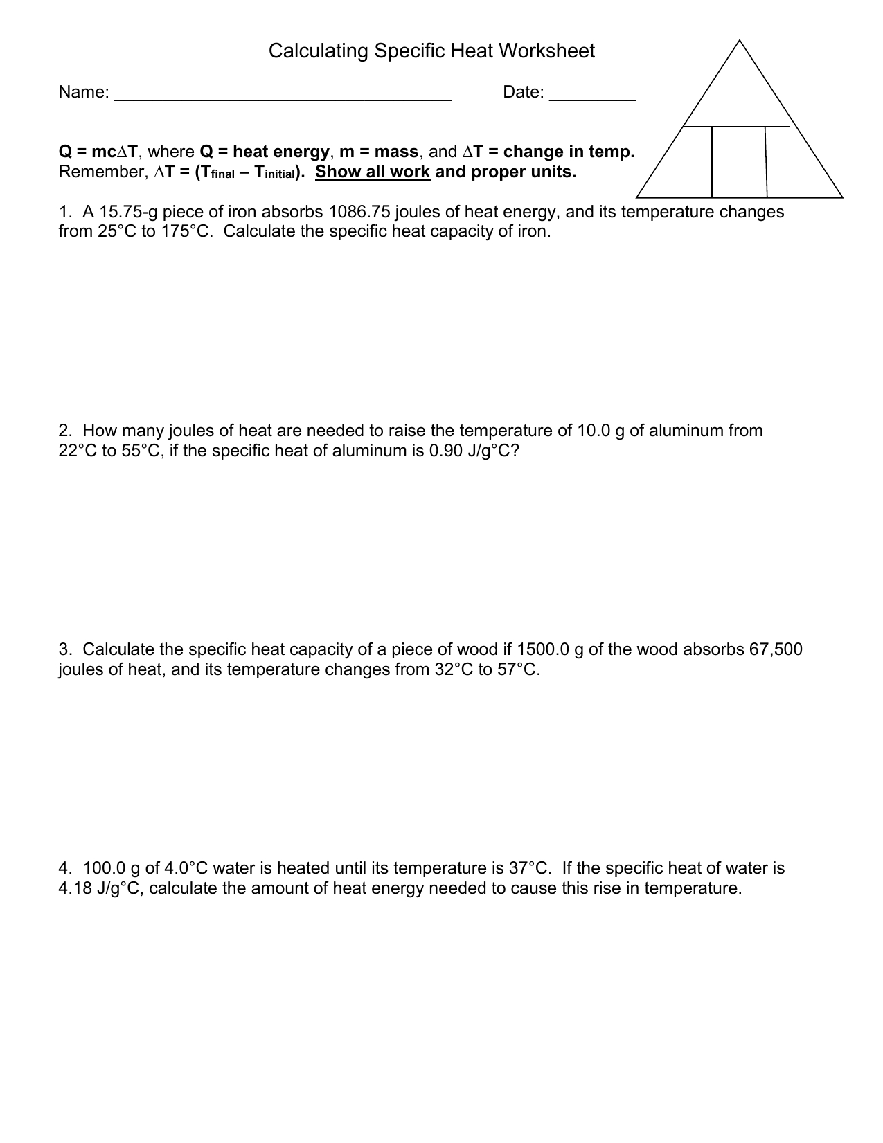 Heat Calculations Worksheet
