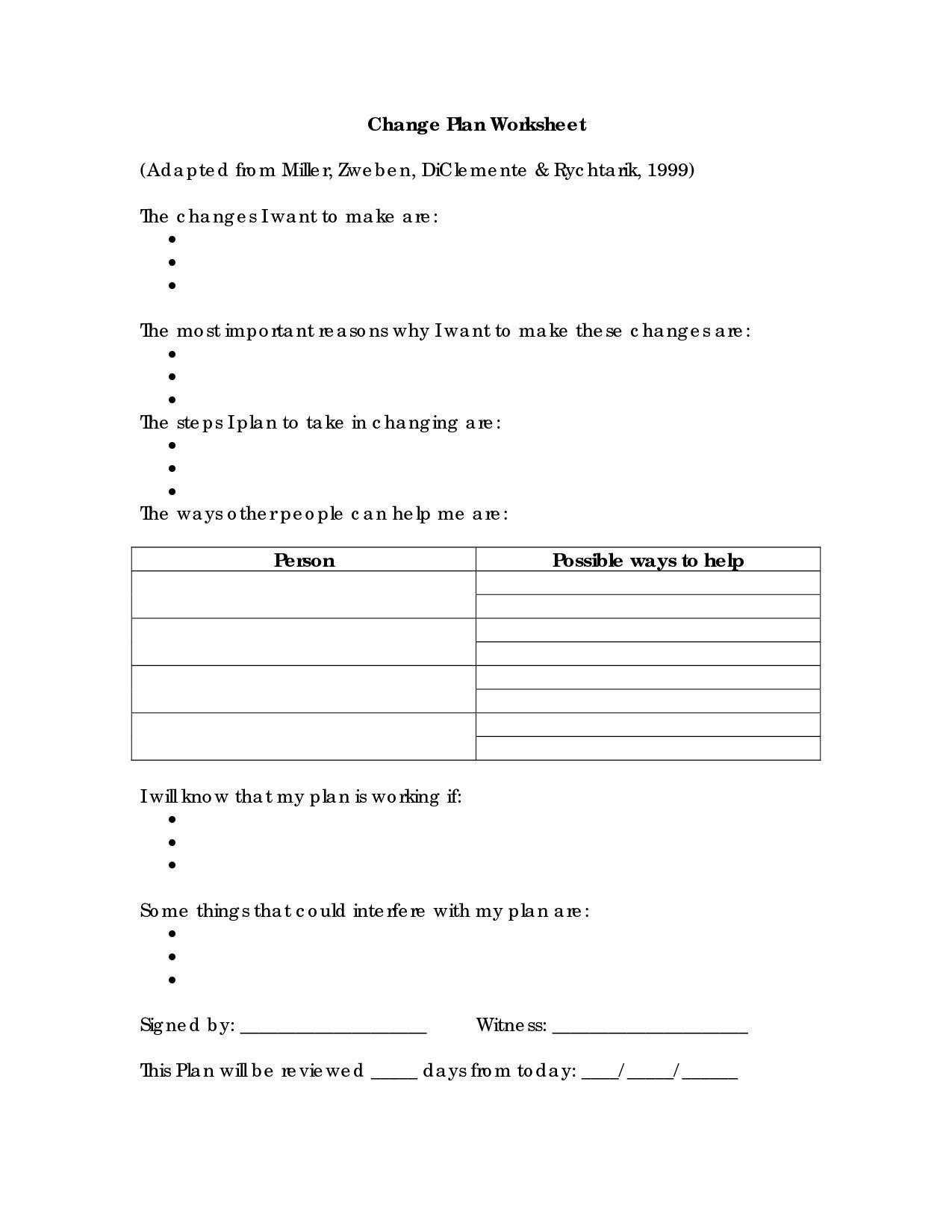 Substance Abuse Worksheets