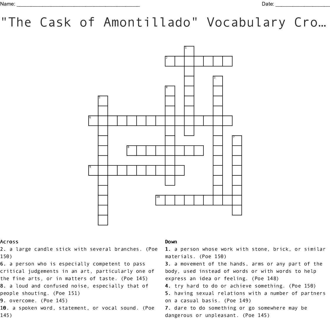 The Cask Of Amontillado Vocabulary Worksheet Answers