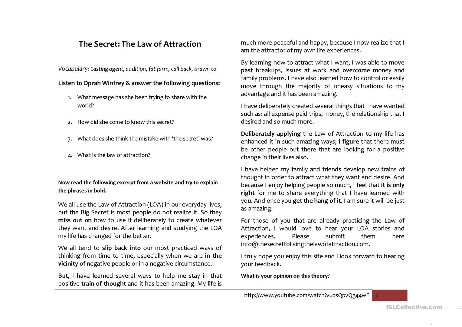 Law Of Attraction Worksheets