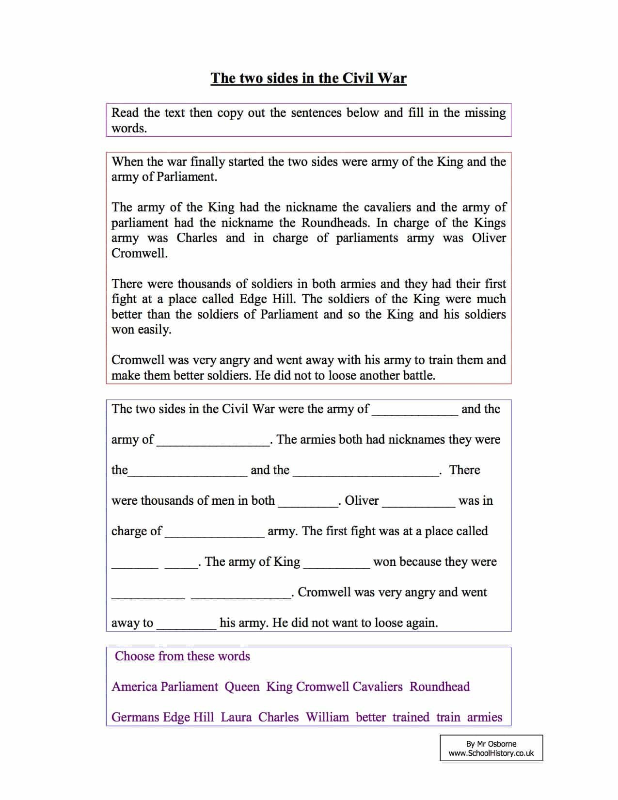 Civil War Worksheets