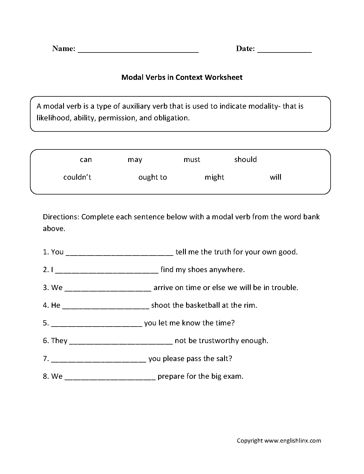 Modal Verbs Ks2 Worksheet
