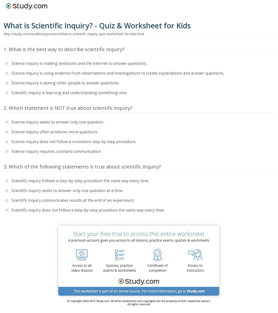 Scientific Inquiry Worksheet Answers