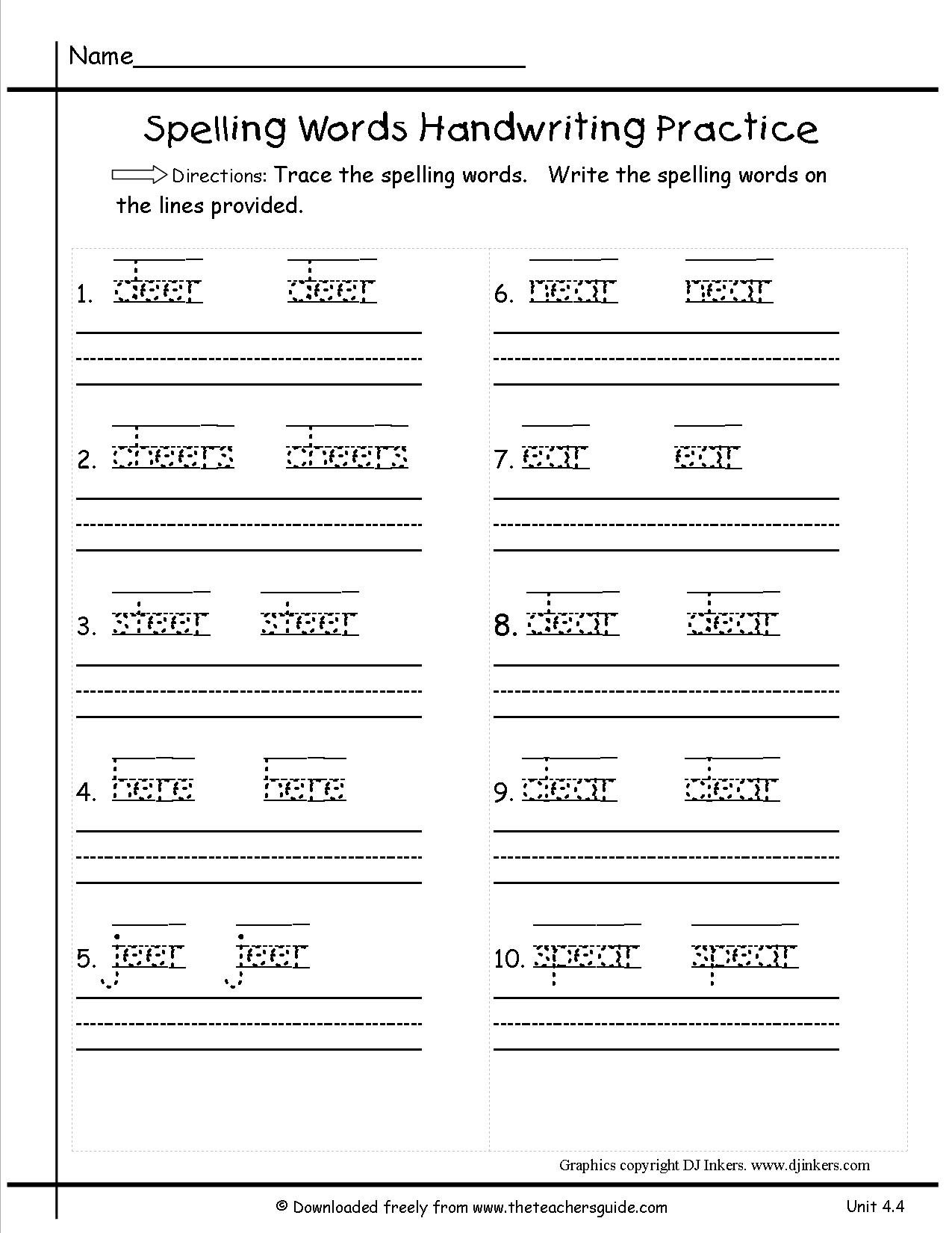 Daily Spelling Practice Worksheets