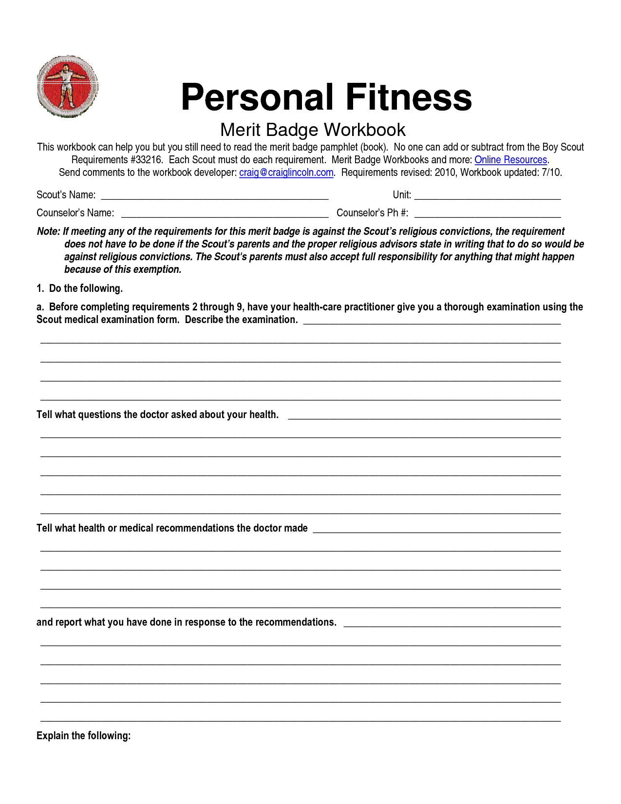Family Life Merit Badge Worksheet