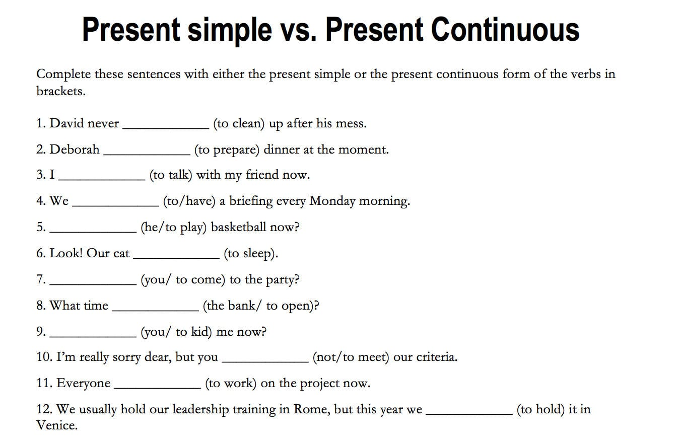 Present Progressive Spanish Worksheet