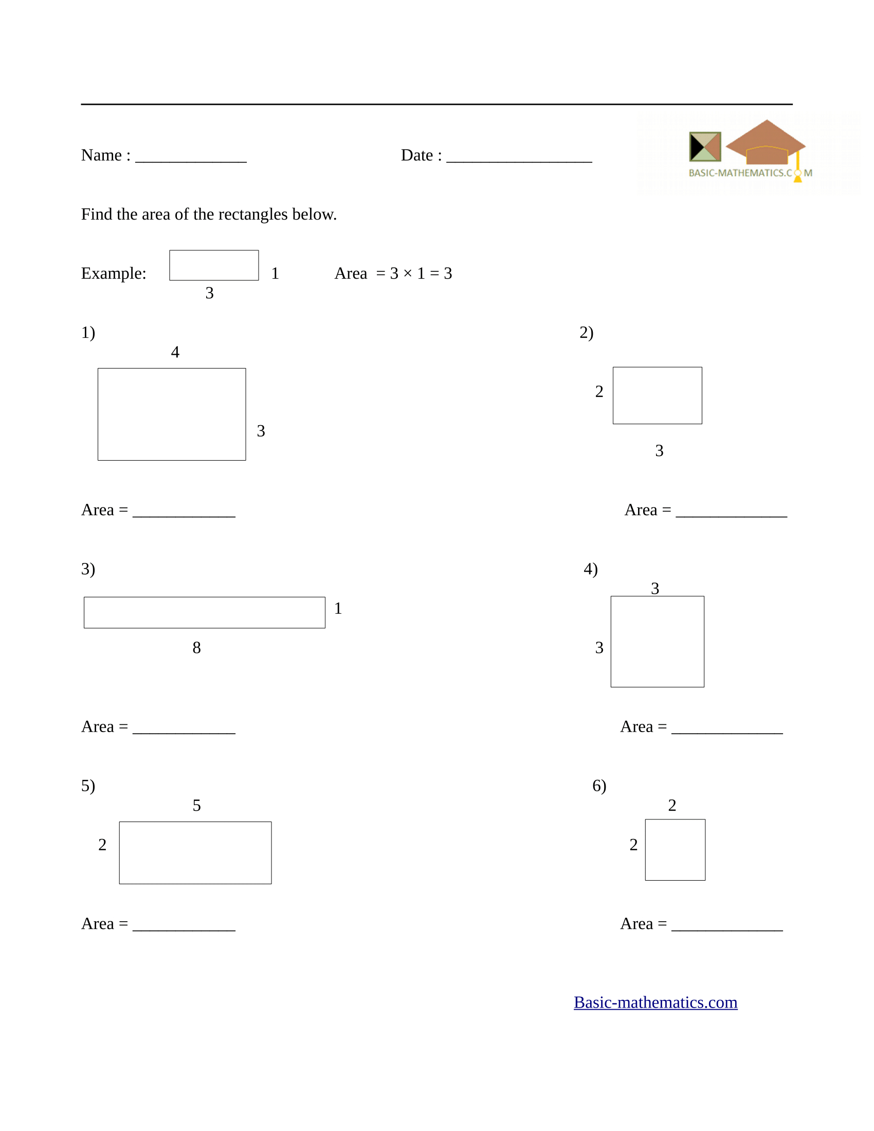 Finding Area Worksheets