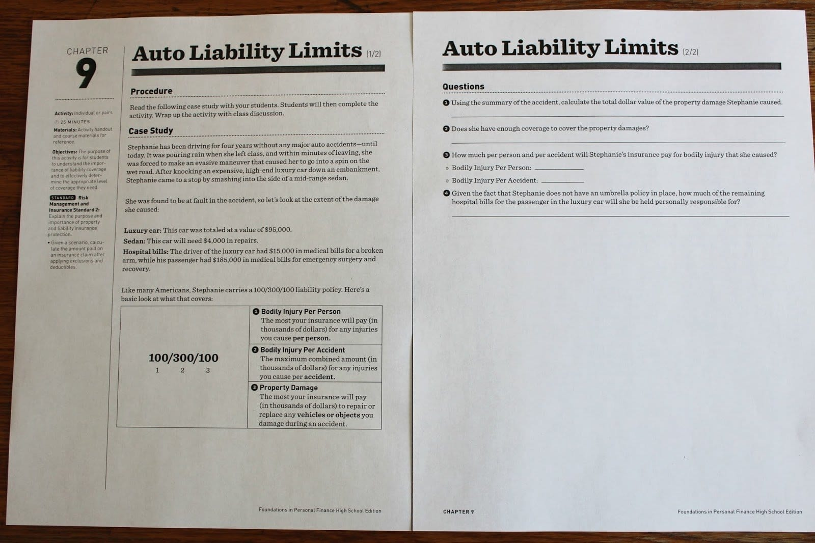 Auto Liability Limits Worksheet Answers Chapter 9