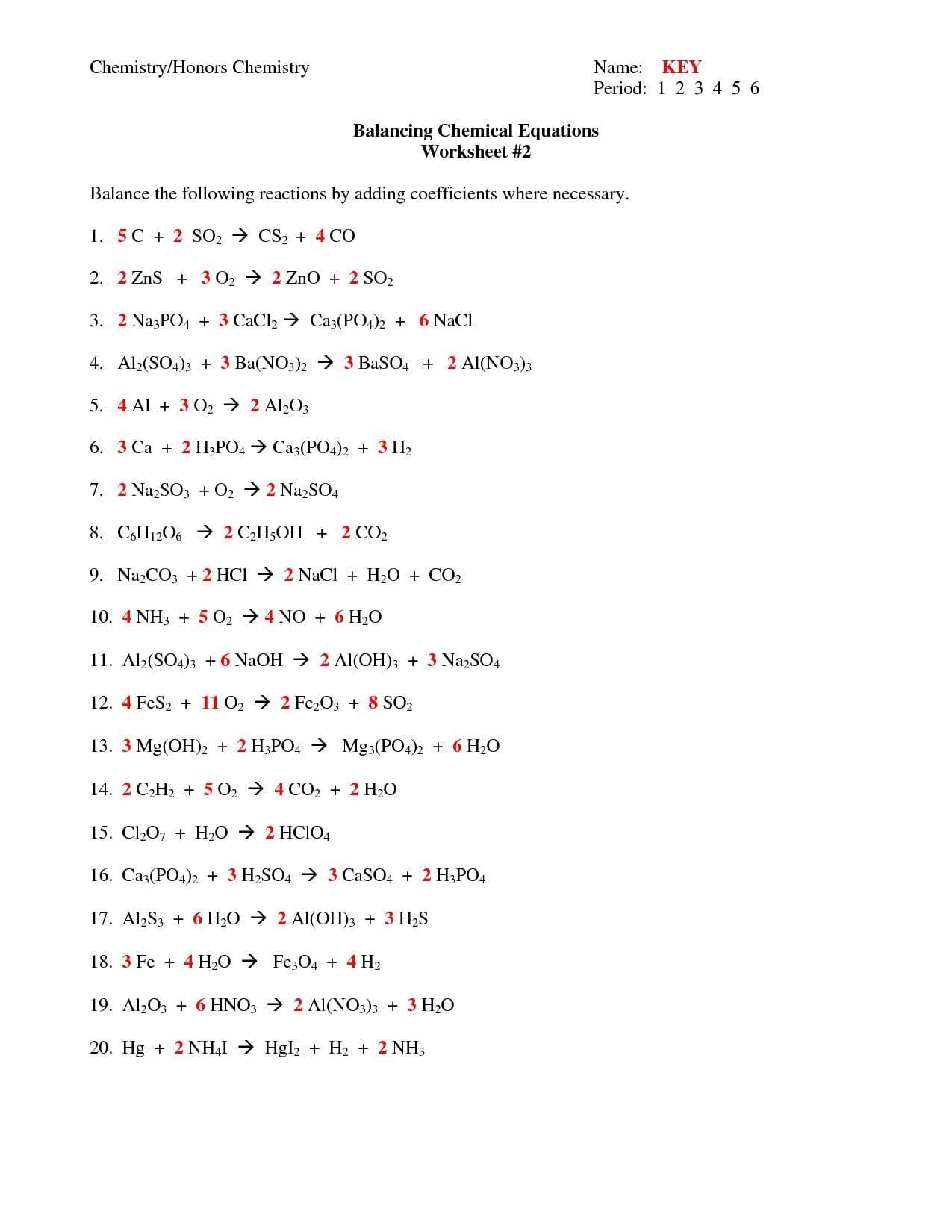 Chapter 7 Worksheet 1 Balancing Chemical Equations