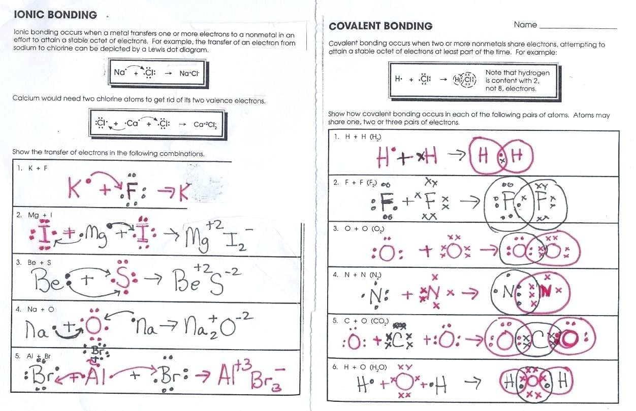 Covalent Bonding Worksheet