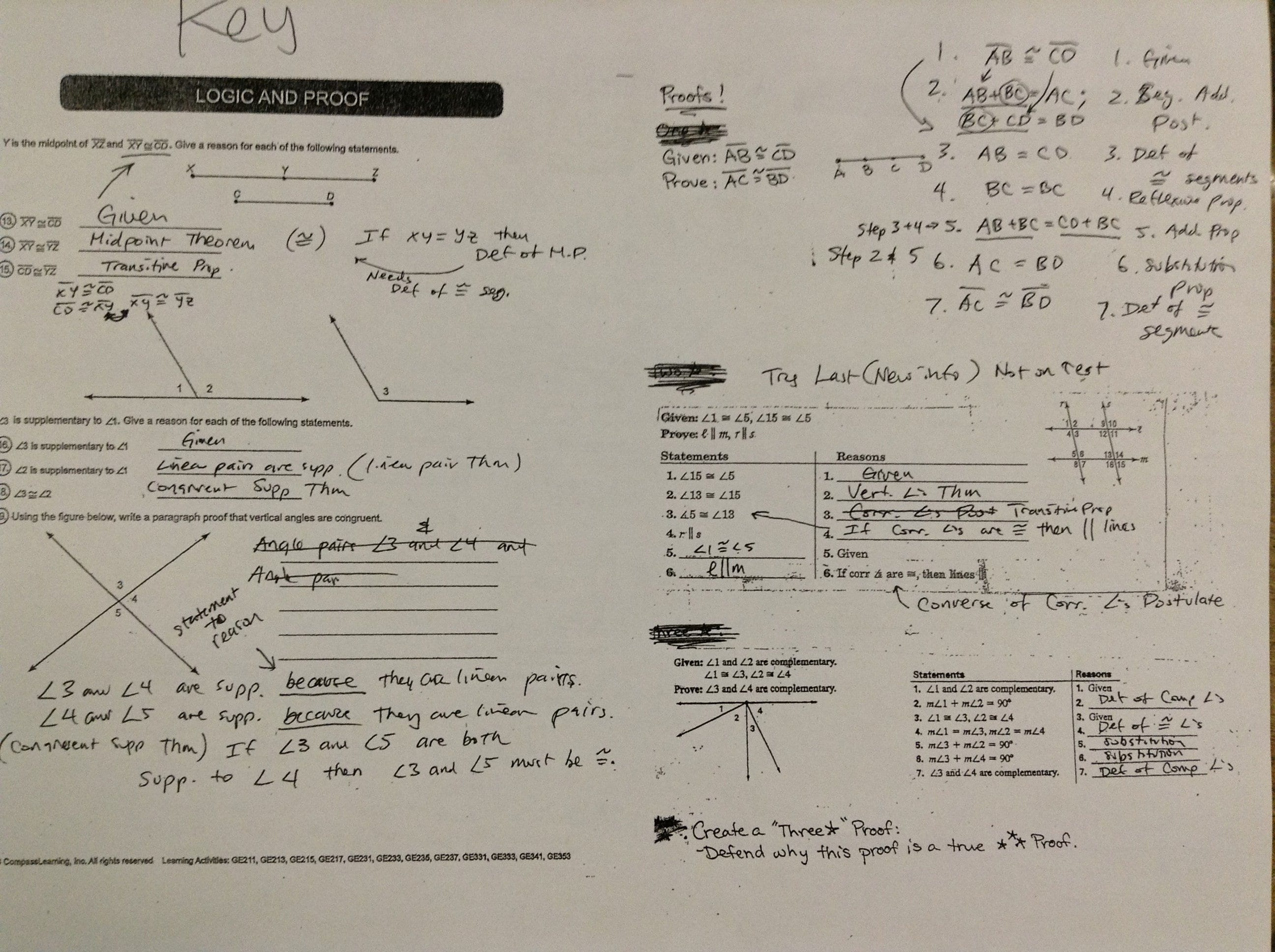 High School Geometry Worksheet With Answers