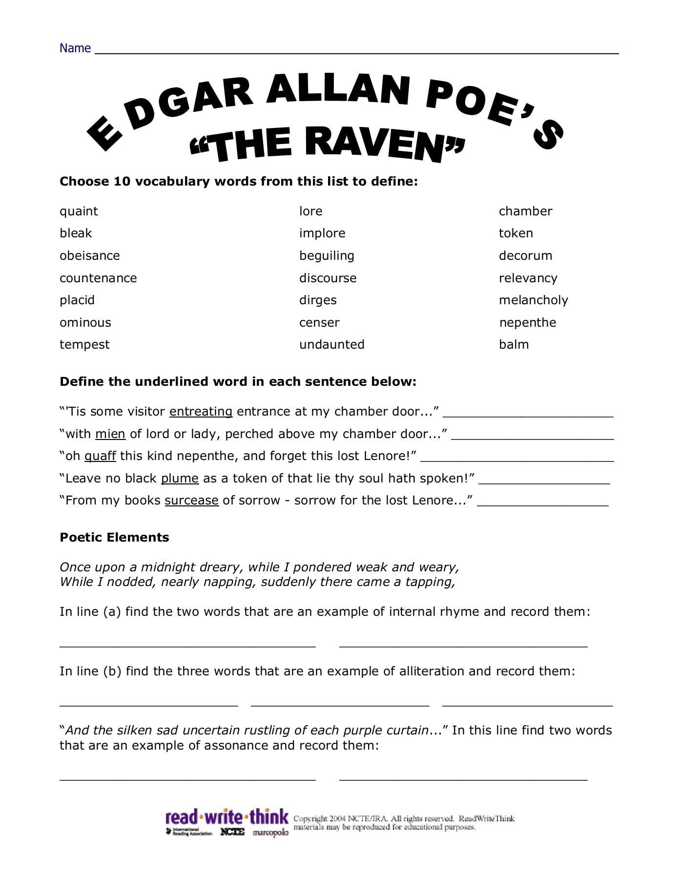 Worksheet The Raven By Edgar Allan Poe