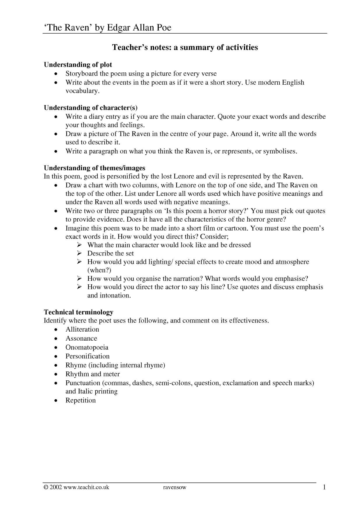 Edgar Allan Poe039s The Raven Worksheet Answers Read Write