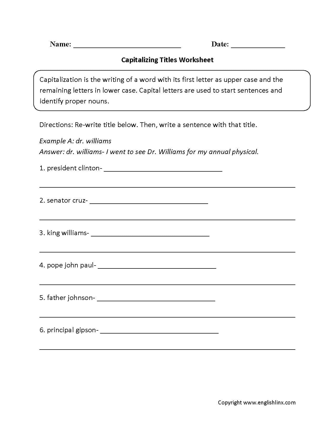 Capitalization Practice Worksheet
