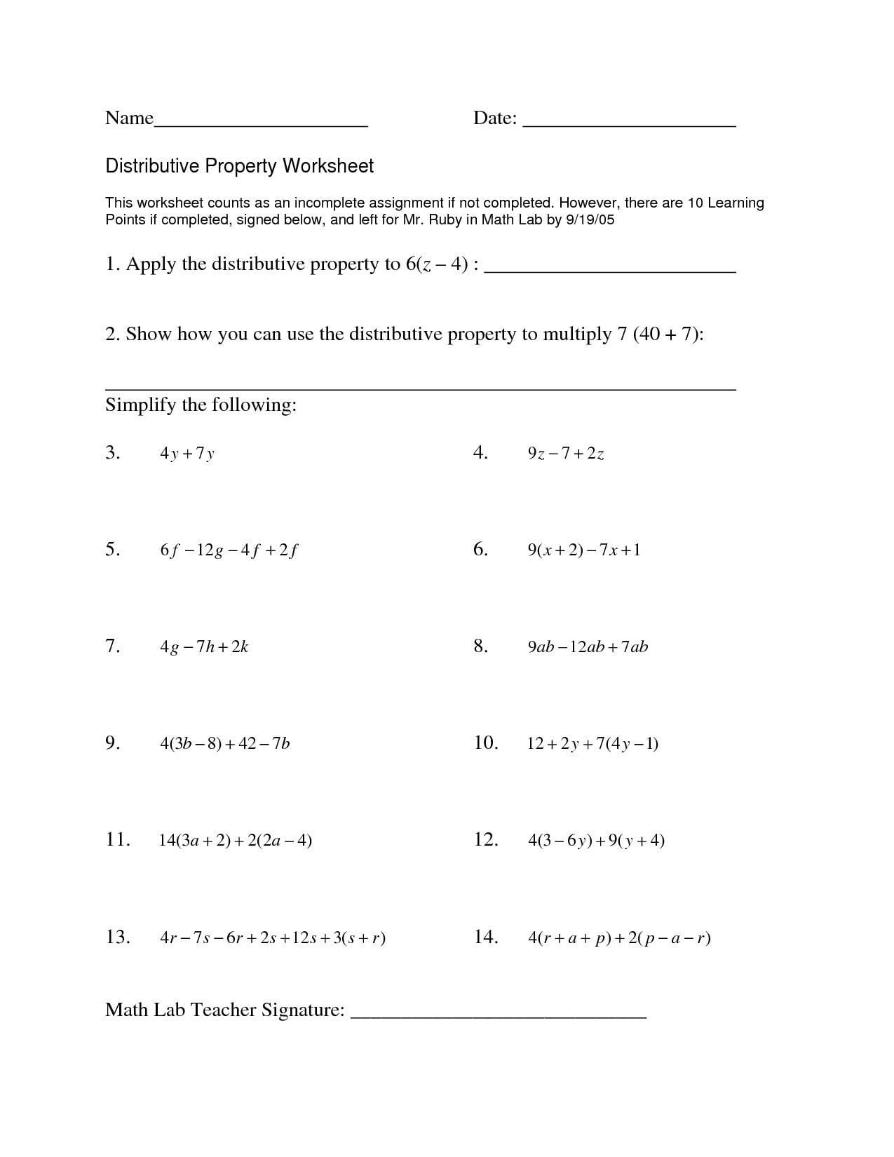 Factoring Distributive Property Worksheet