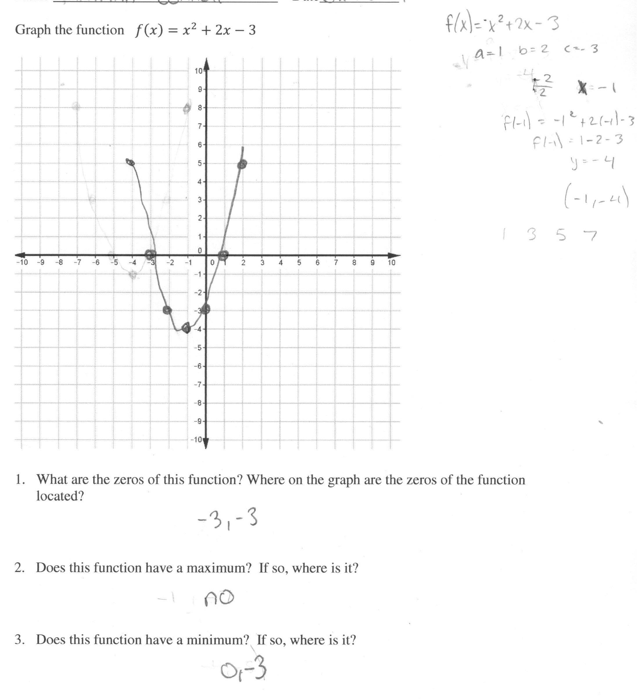 Graphing Quadratic Functions Worksheet Answers Algebra 2