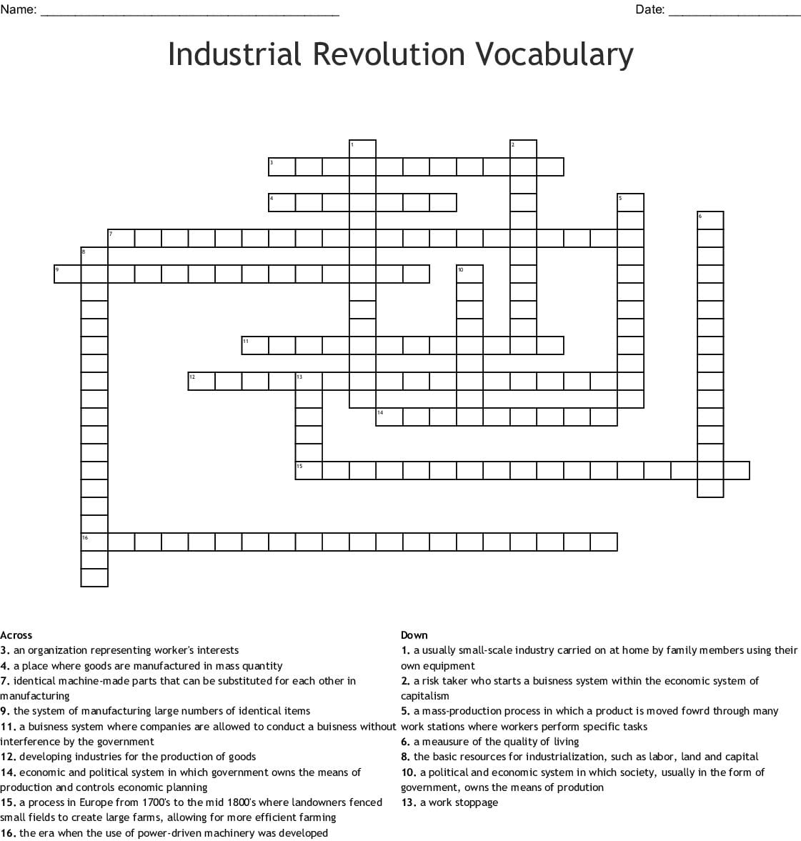 Industrialization Vocabulary Worksheet