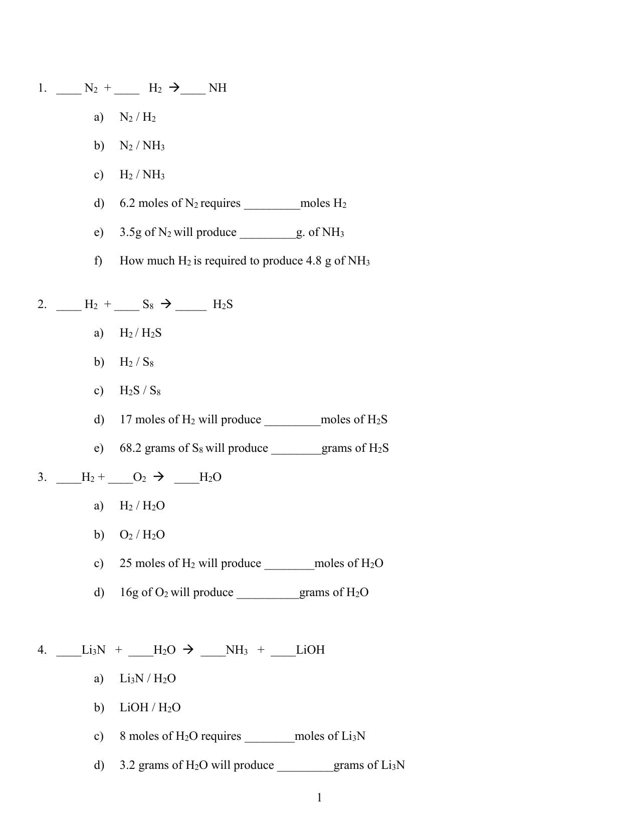 Mole Ratio Worksheet Pertaining To Mole Ratio Worksheet