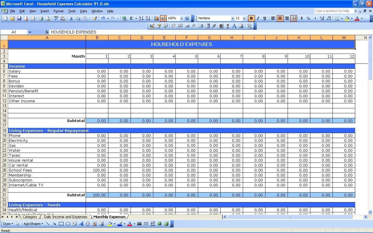 Financial Expenses Worksheet