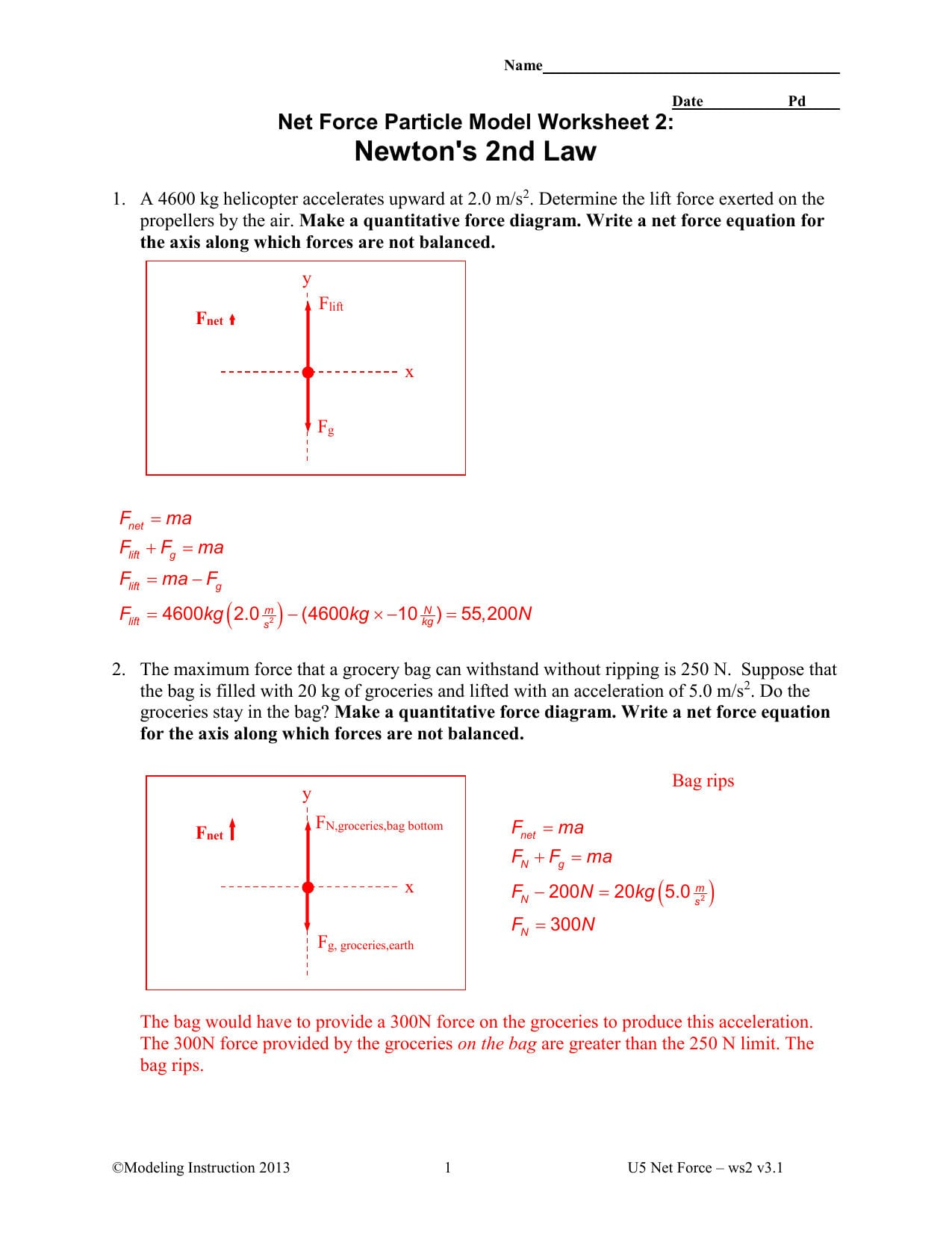 Newtons 2nd Law Key Northwest Isd Moodle For Net Force