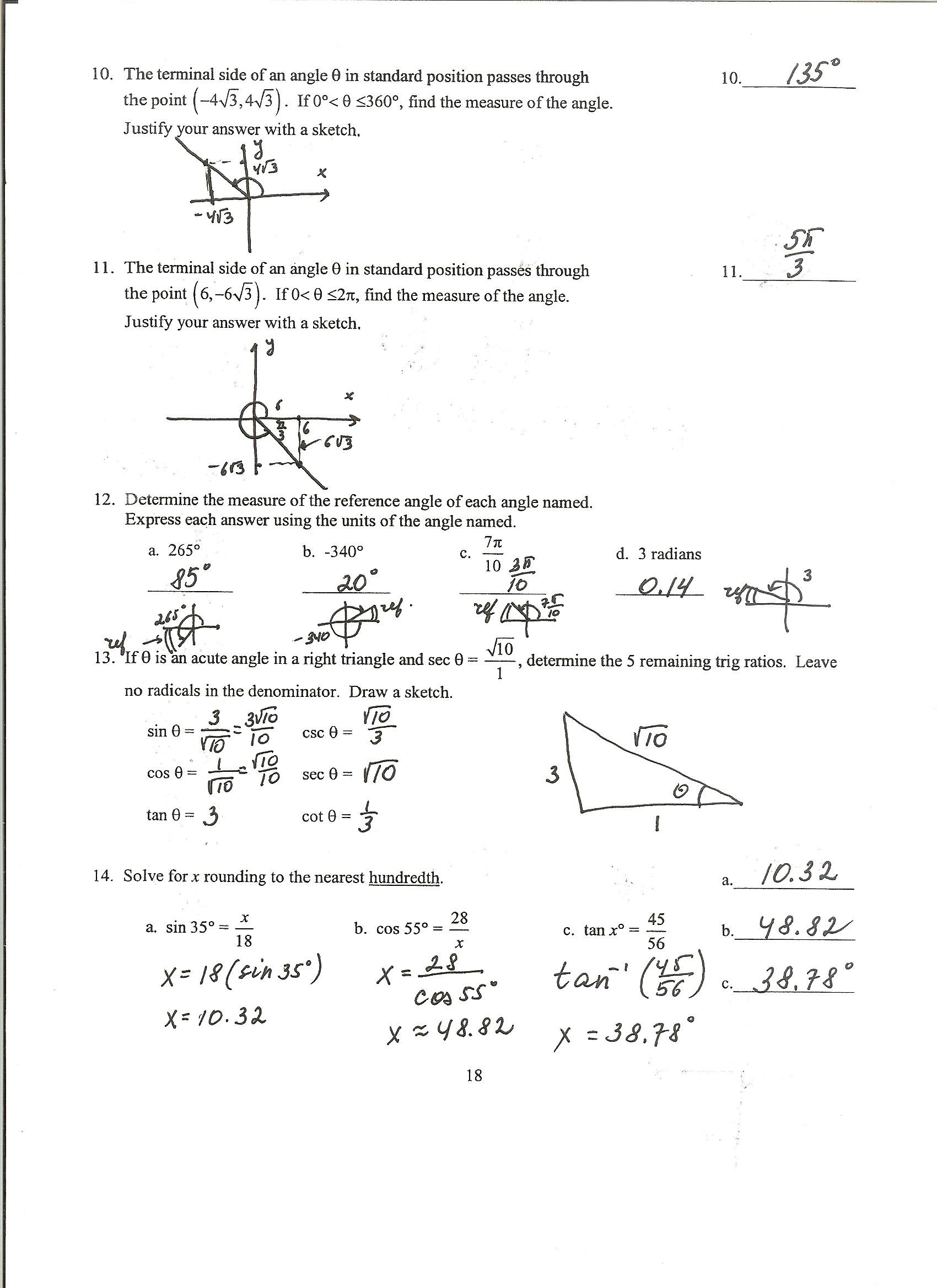 Worksheet With Answers On Trigonometric Identities