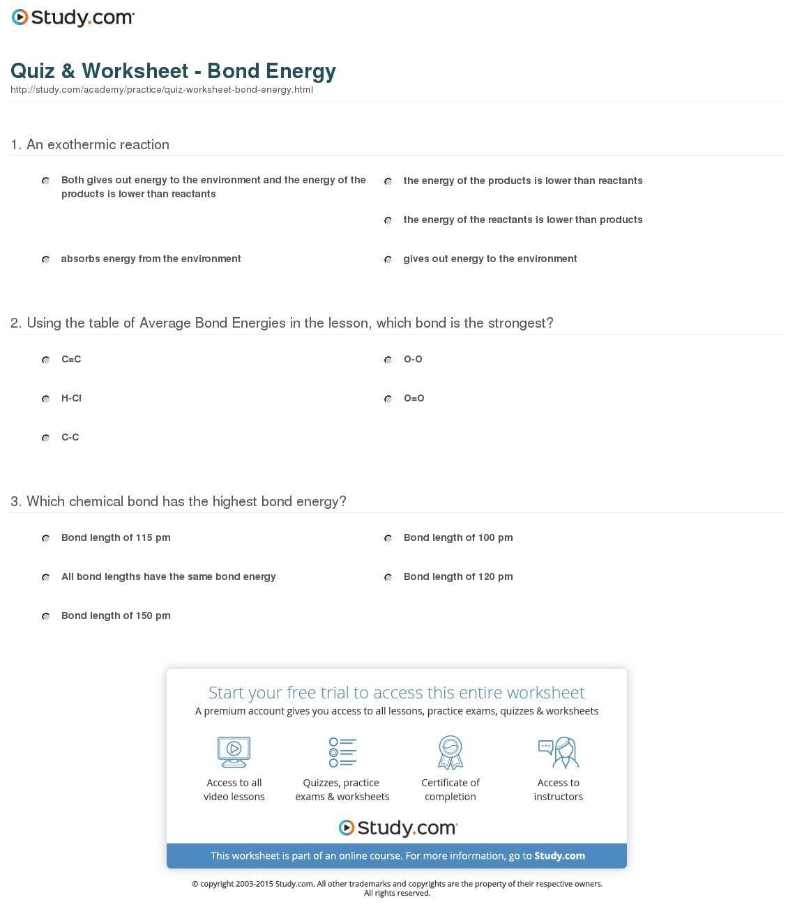 Bond Energy Worksheet