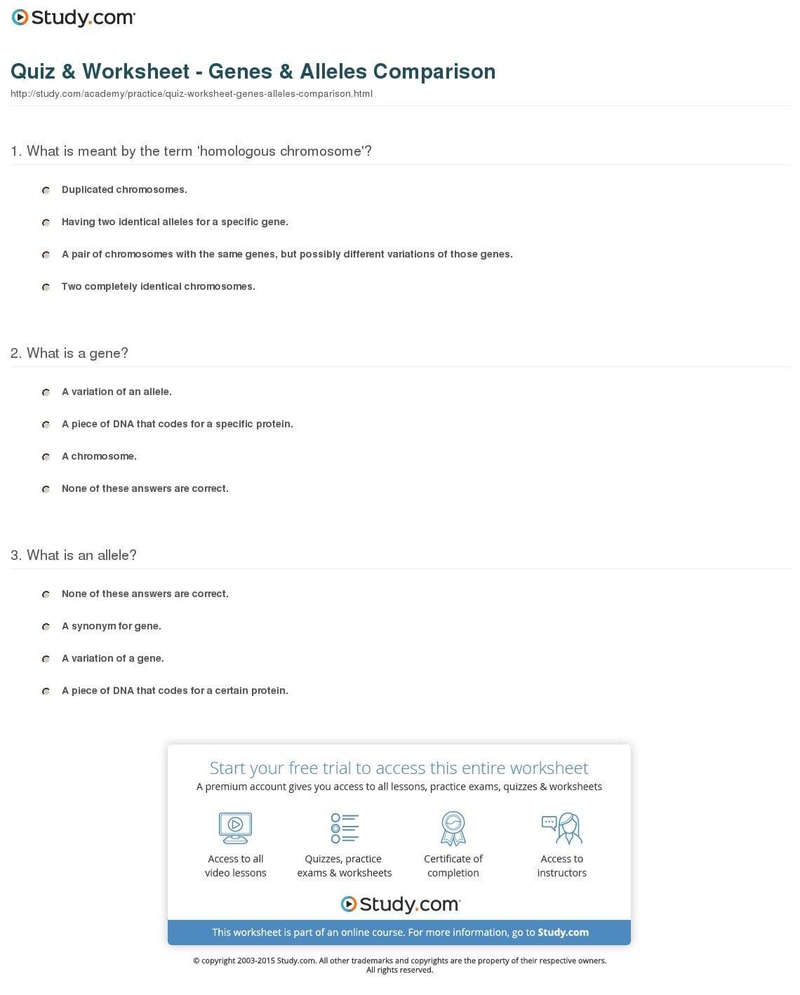 Gene Mapping Worksheet Answer Key