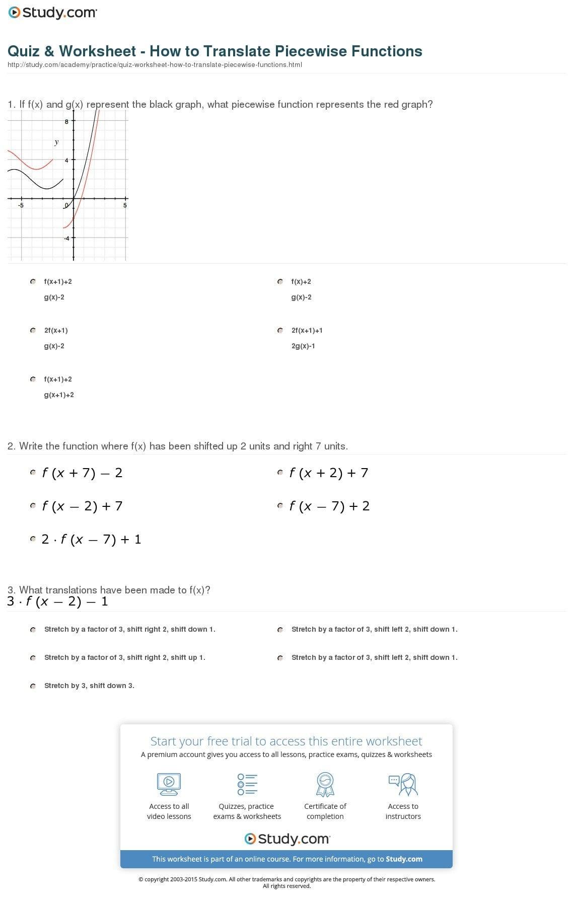 Translating Functions Worksheet