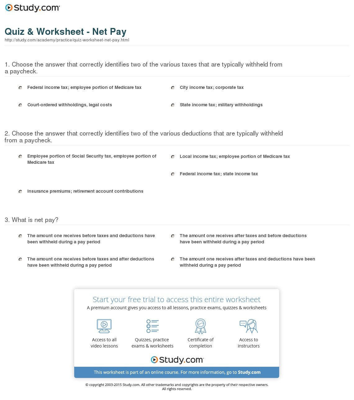 Calculating Your Paycheck Salary Worksheet 1 Answer Key