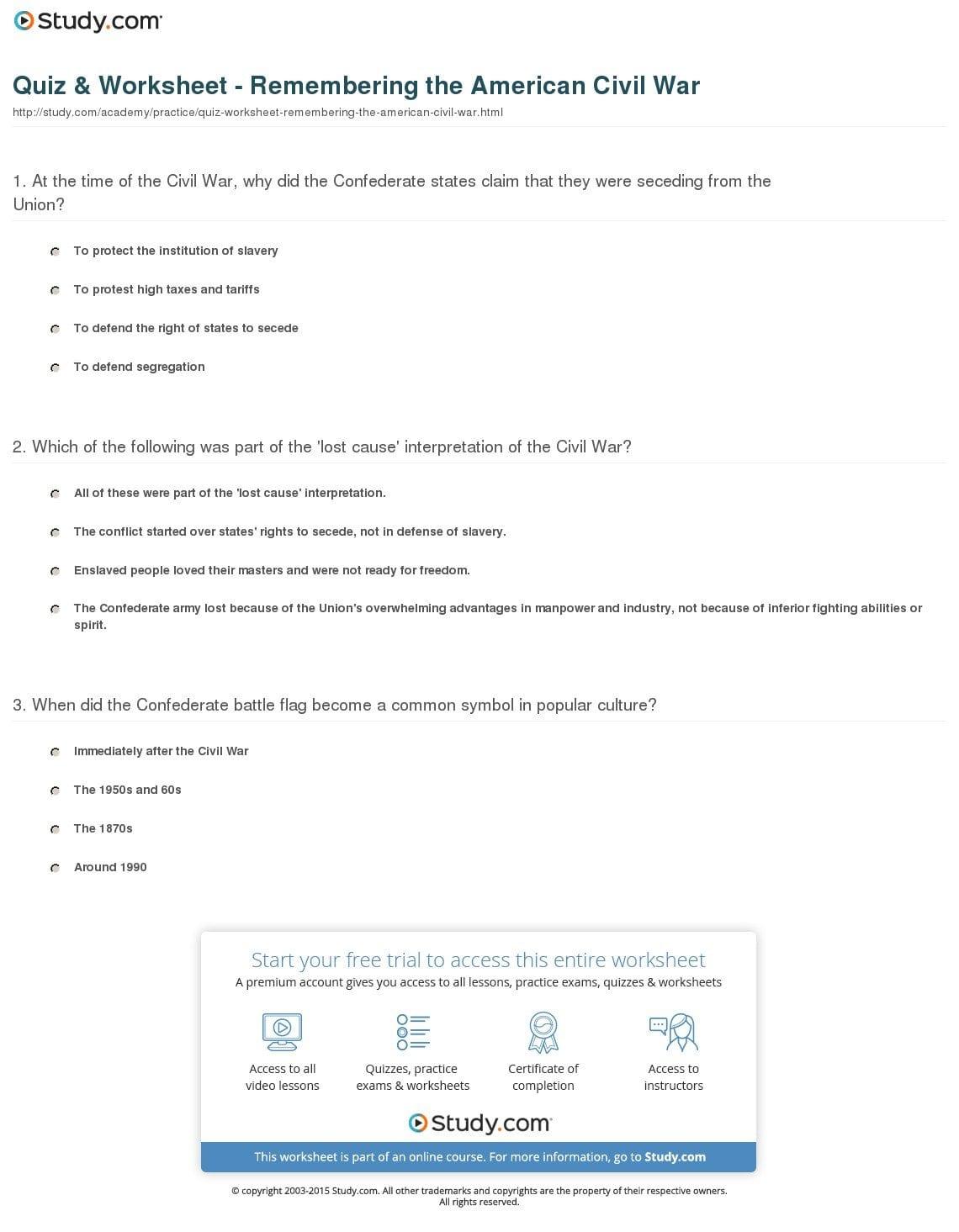 American Civil War Reading Comprehension Worksheet Answers