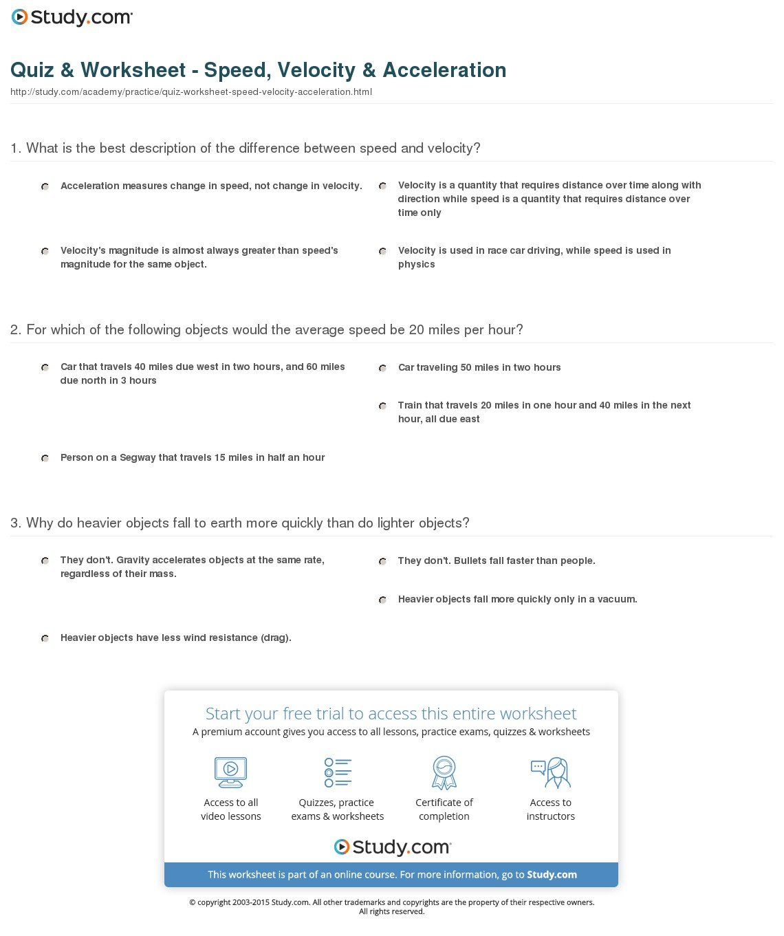 Average Speed Worksheet Answers