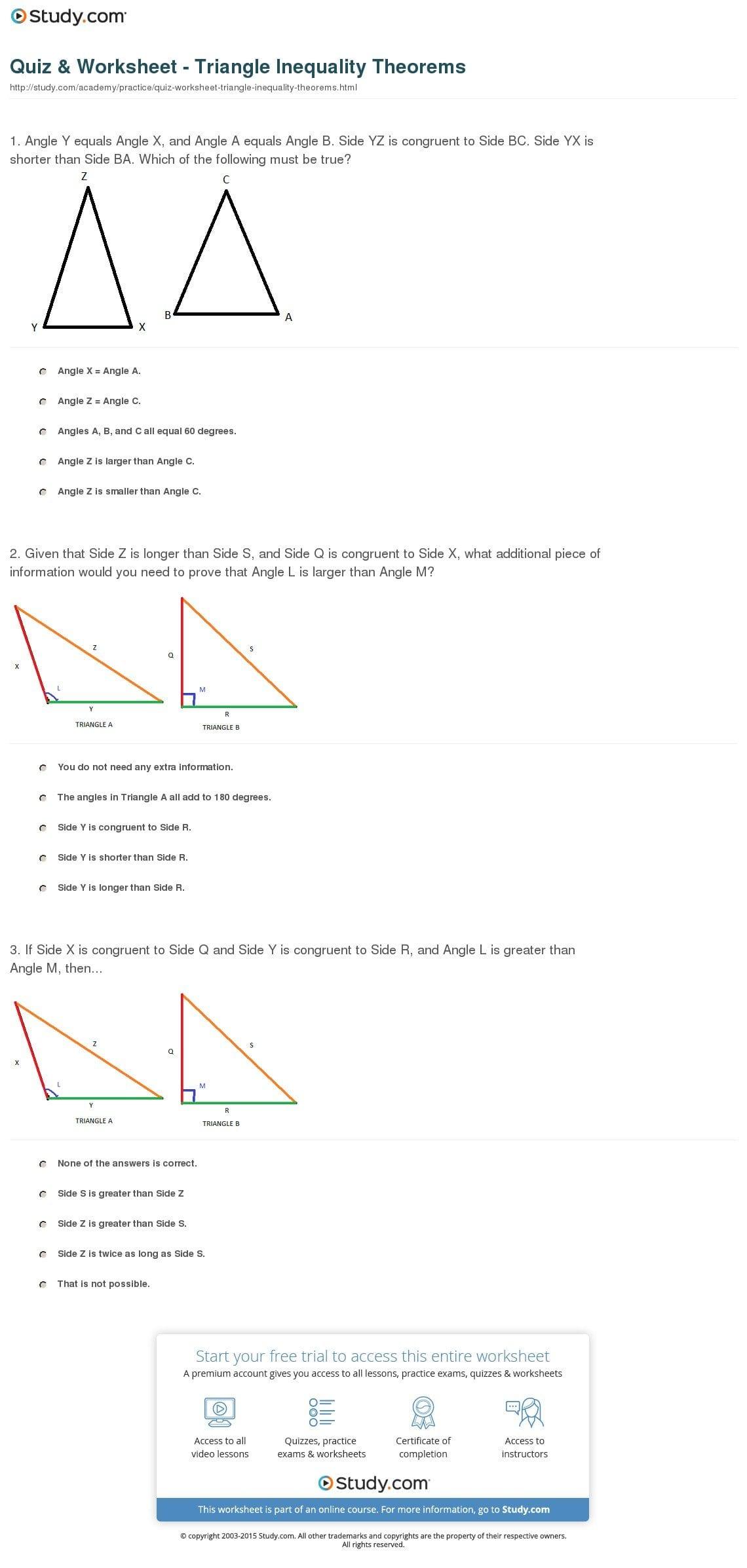 Triangle Inequality Worksheet