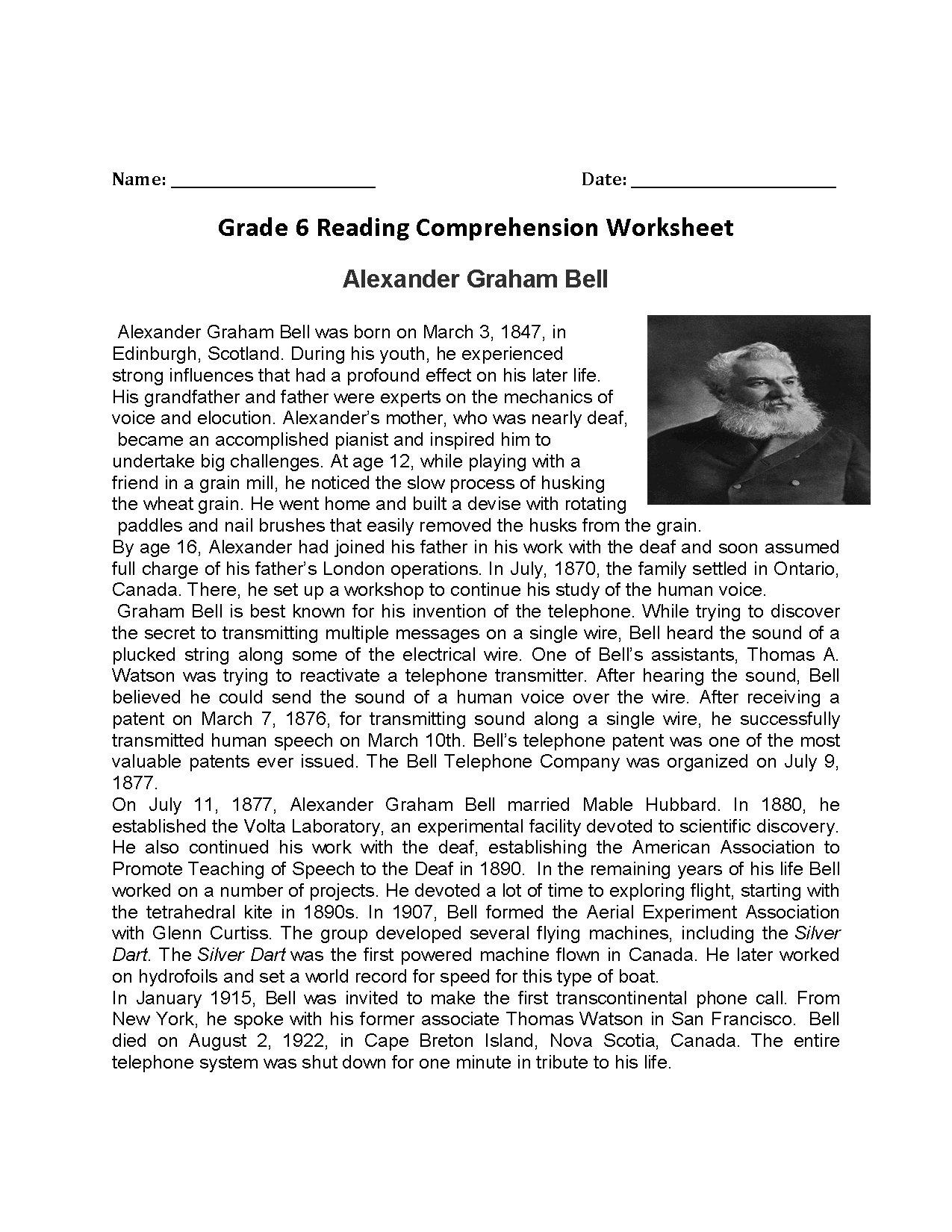 Abraham Lincoln Comprehension Worksheet
