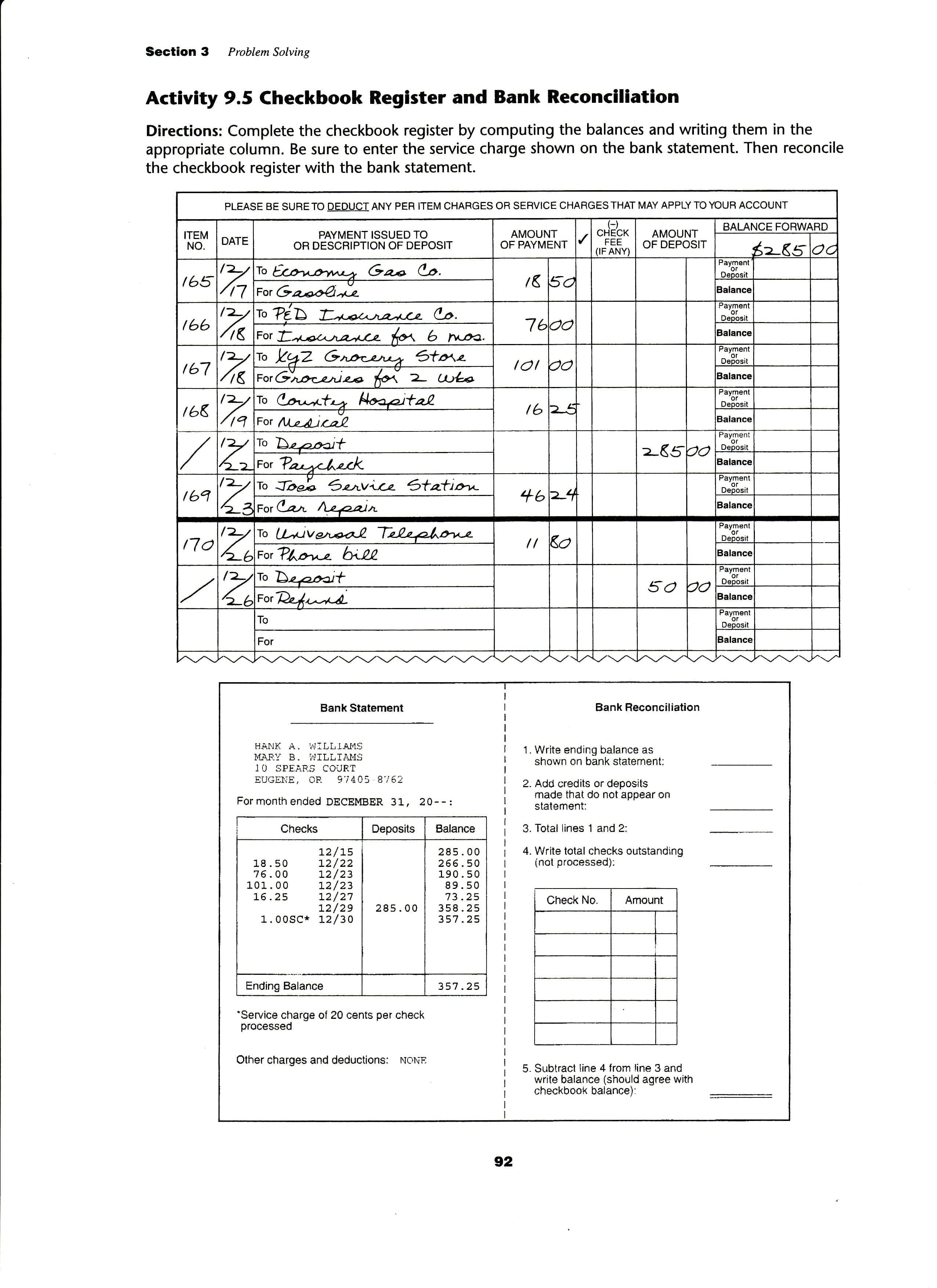 Reconciling An Account Worksheet Answers