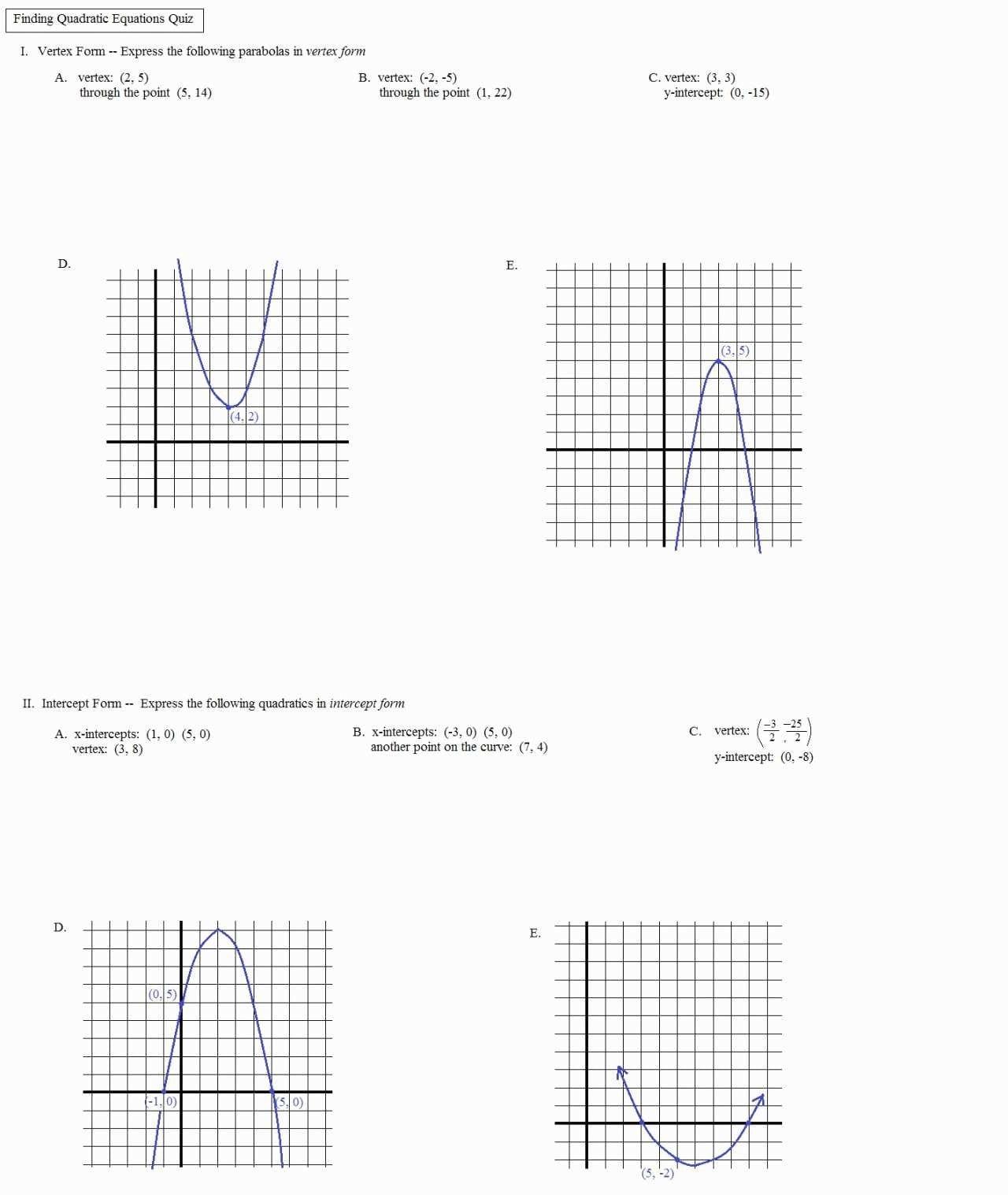 Worksheet Algebra 2 Lesson One