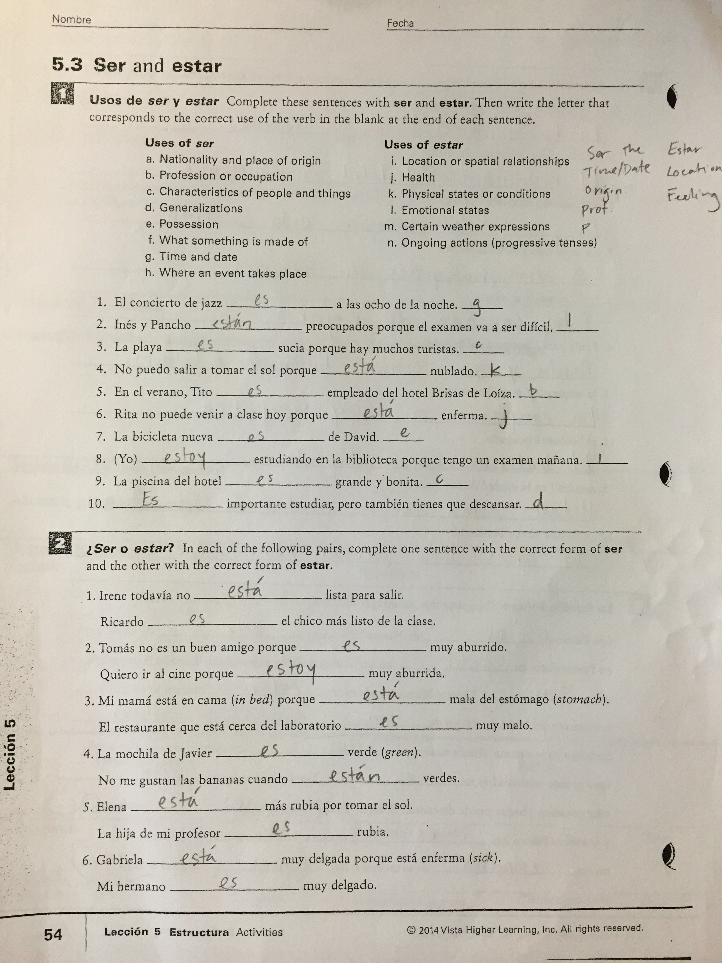 2 3 Present Tense Of Estar Worksheet Answers