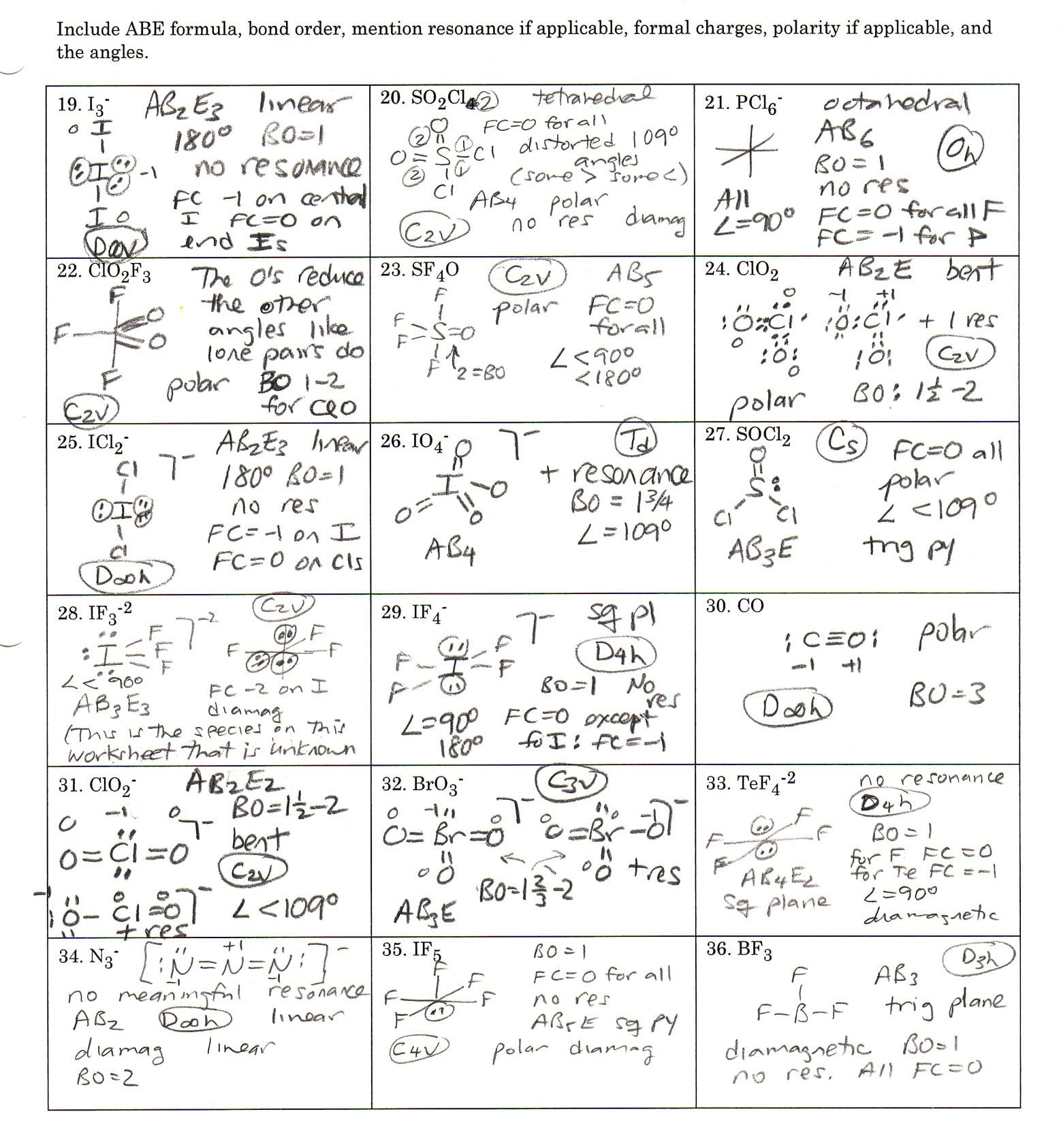 Lewis Dot Structures Worksheet 1 Answer Key