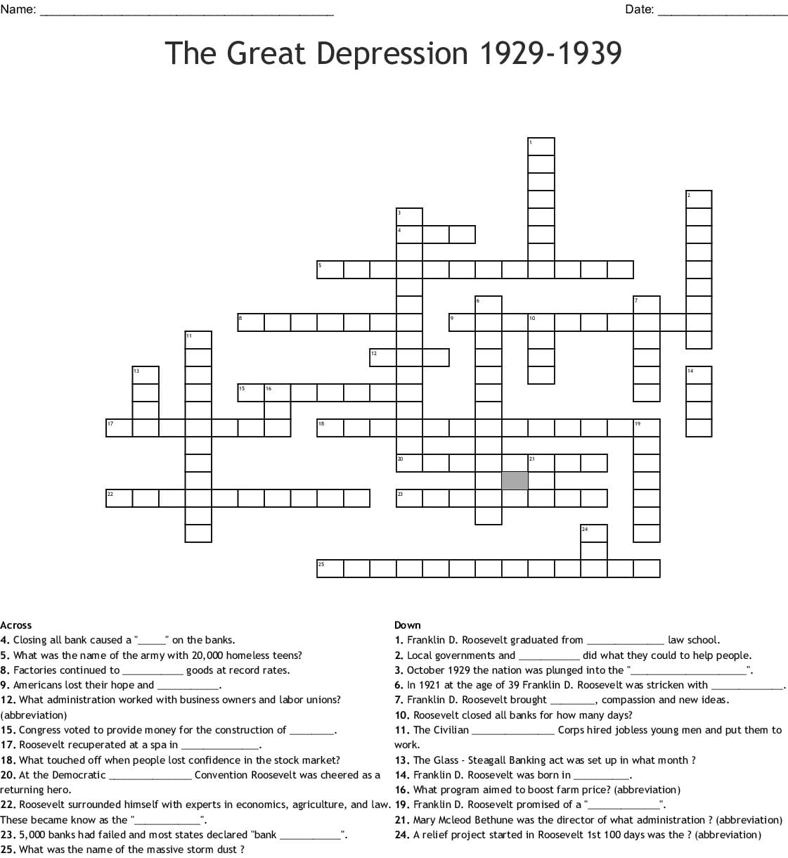 The Great Depression Worksheet Answer Key