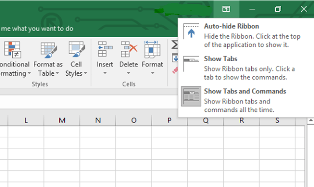 Ribbon tabs in excel