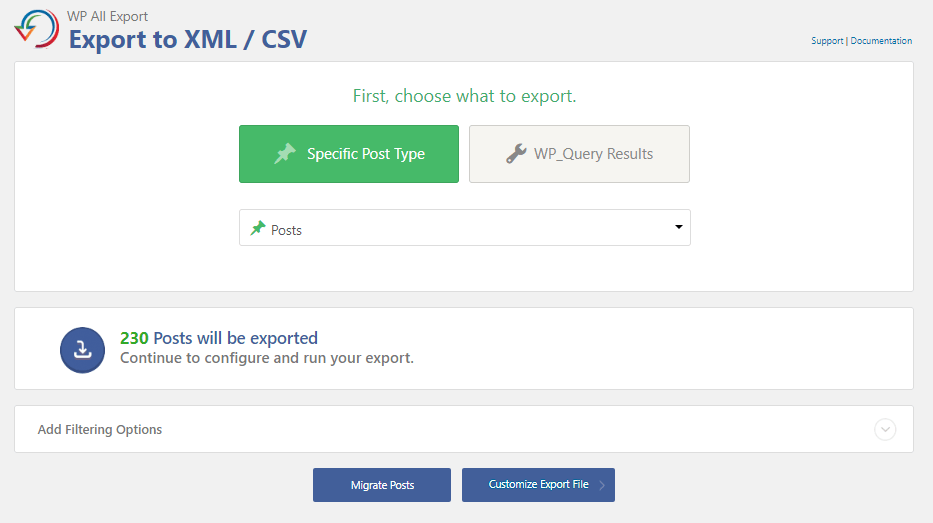 1 - export posts using All export to csv
