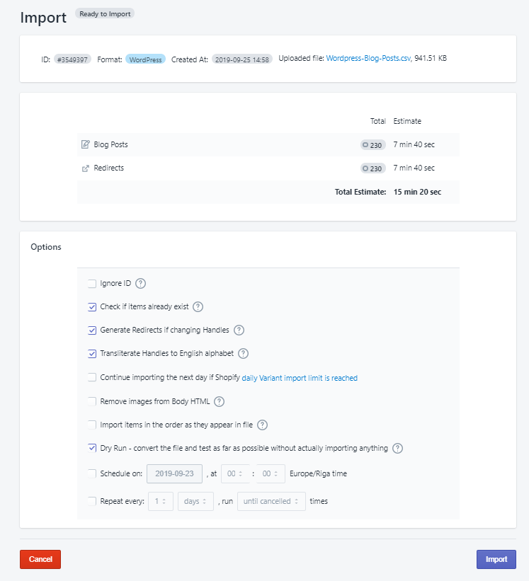4 - upload wordpress posts to Shopify excelify csv