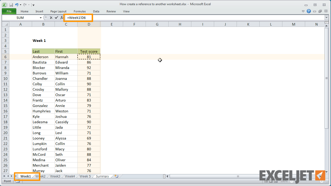 Excel Tut I L How To Cre Te Reference To Her W Ksheet