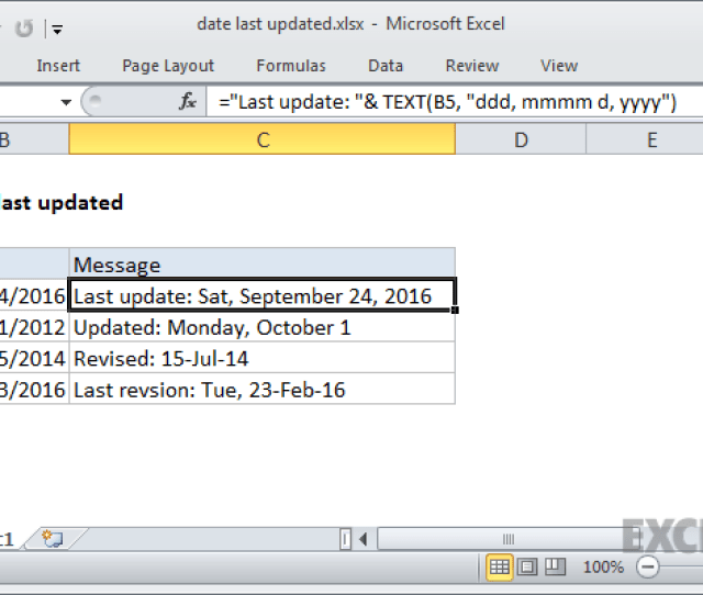 Excel Formula Last Updated Date Stamp