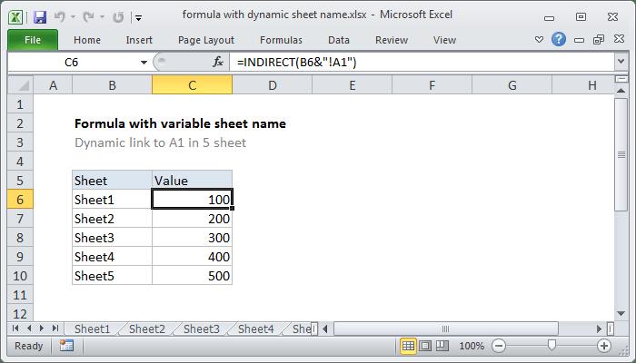 Excel Formula Dynamic Worksheet Reference Exceljet