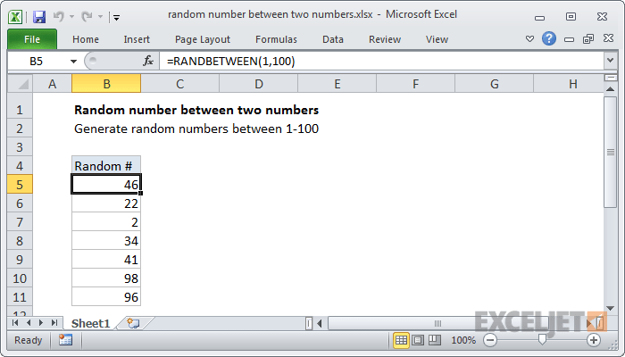 Excel Formula Random Number Between Two Numbers Exceljet