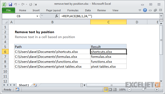 Excel formula: Remove text by position | Exceljet