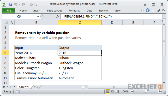 Excel formula: Remove text by variable position | Exceljet