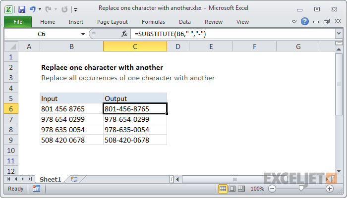 Excel formula: Replace one character with another | Exceljet