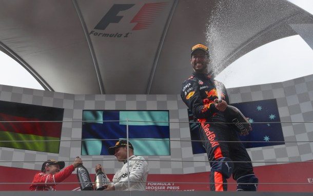 Podium celebrations Austrian GP 2017