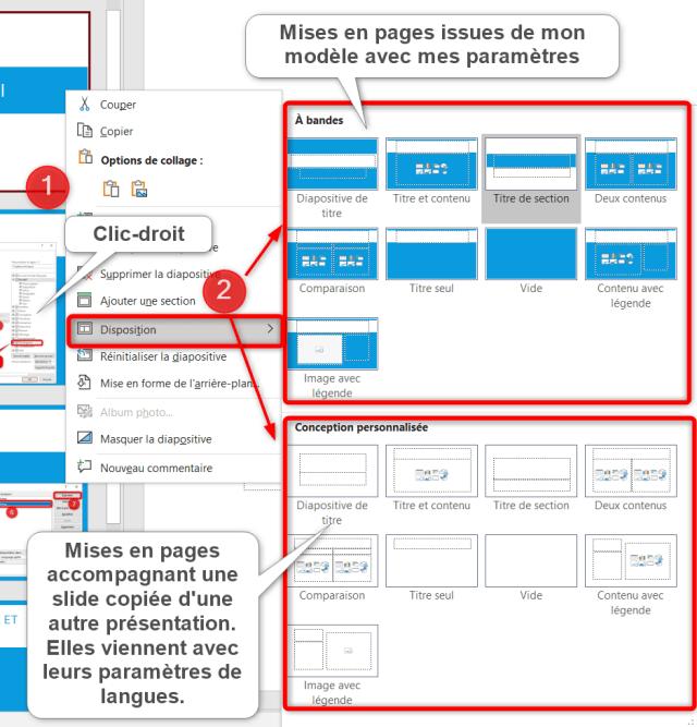 Changer langue PowerPoint - Mises en pages copiées